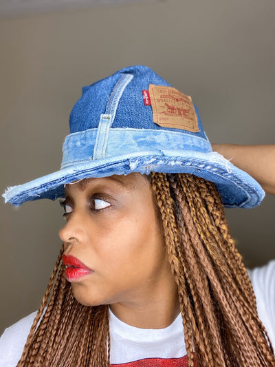 SCRAPPY FEDORA Vintage Levis Upcycled Denim Hat