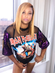 IRON MAIDEN Remix Sequin Vintage Mesh Graphic T Shirt Dress