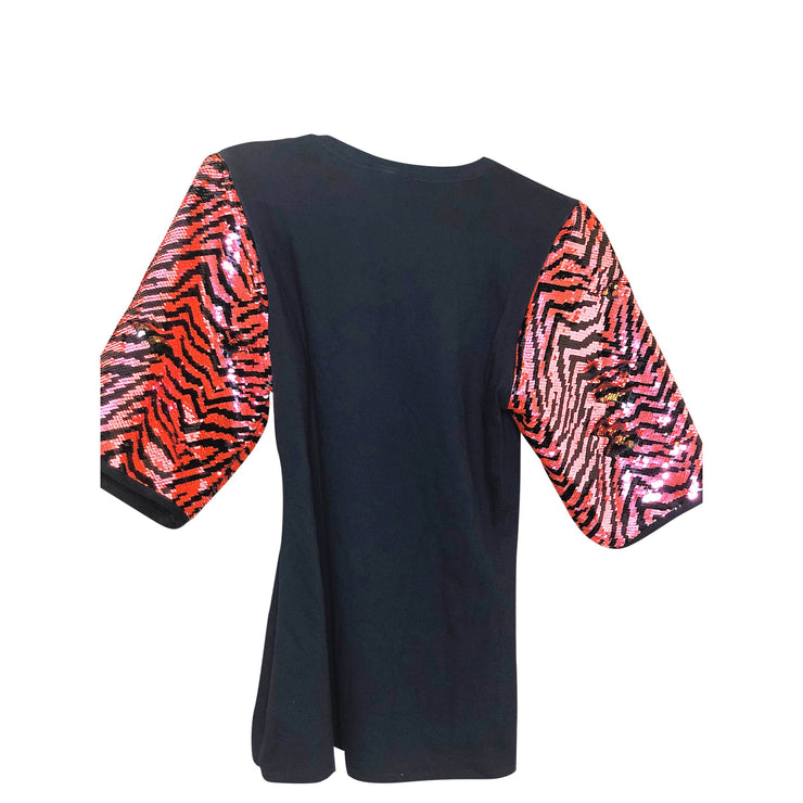 KISS Vintage Remix Orange Zebra Print Sequin Graphic T Shirt