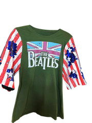 BEATLES Distressed Remixed Sequin Logo Vintage T Shirt
