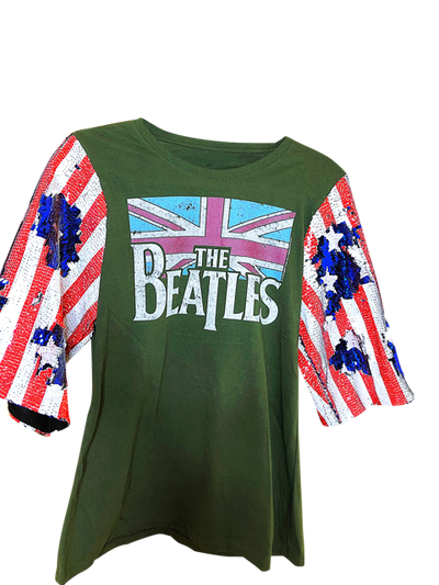 BEATLES Distressed Remixed Sequin Logo Vintage Graphic T Tee Shirt