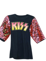 KISS Vintage Remix Orange Zebra Print Sequin T Shirt