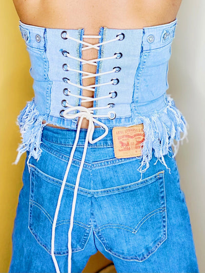 Levis Vintage Upcycled Sustainable Fashion Festival Boho Lace Denim Corset Cincher Waist Trainer