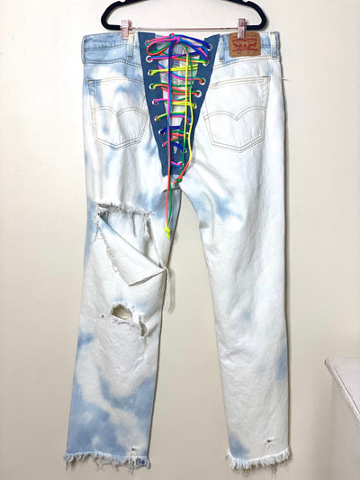 Levis Back Rainbow Lace Up Jeans Upcycled Sustainable Festival Boho Chic Womens Hip Hop Denim