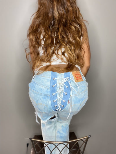 STRING ME UP Vintage Deconstructed Lace Denim Jeans