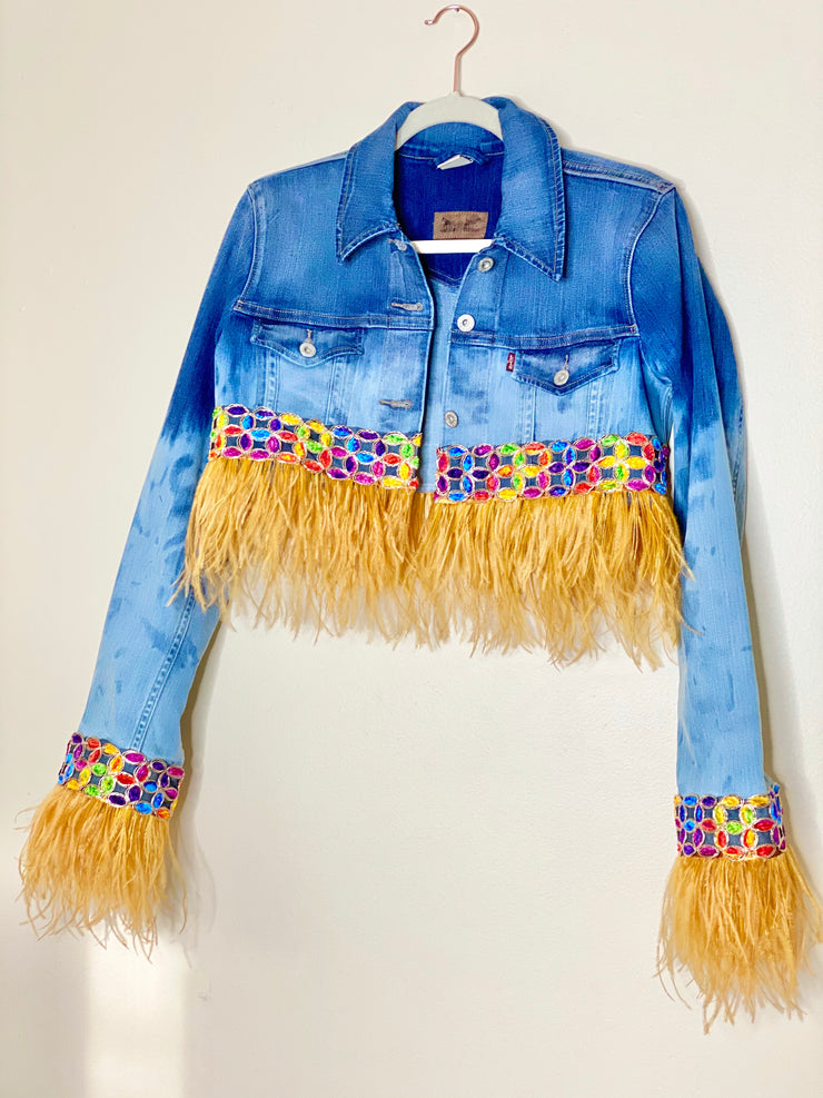 FINE FEATHERS Vintage Ombré Cutoff Denim Jacket
