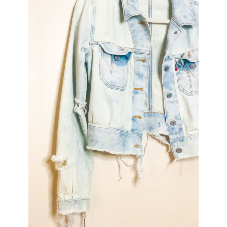 SLOPPY SECONDS Vintage Deconstructed Bleached Denim Jacket