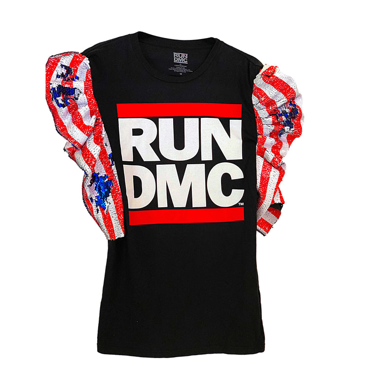 RUN DMC Vintage Remix Sequin Graphic T Shirt