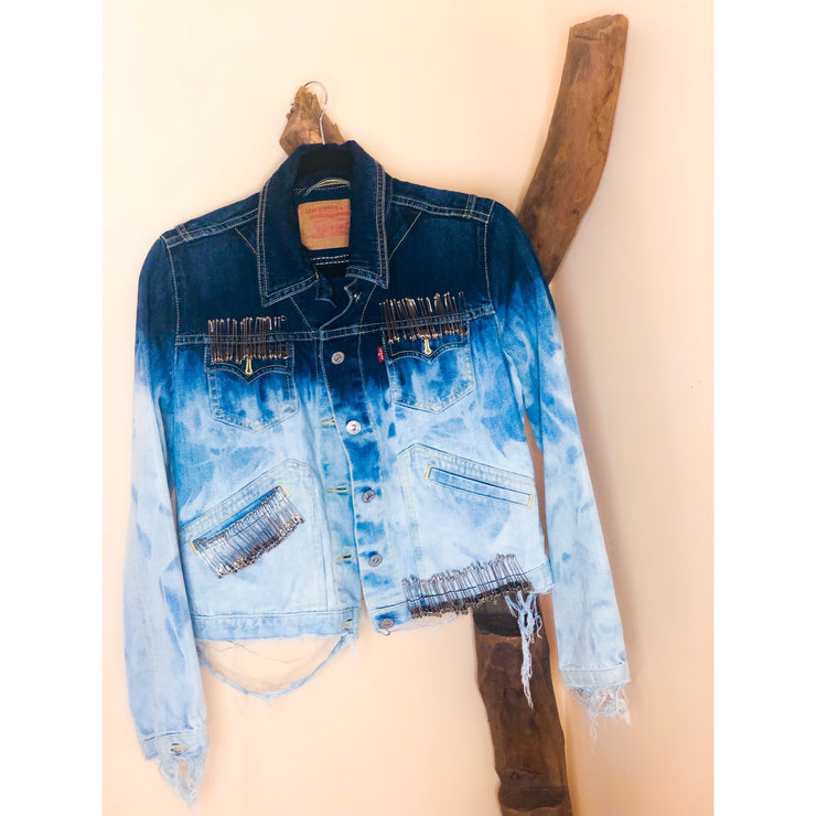 SAFETY FIRST Vintage Deconstructed Ombré Denim Jacket