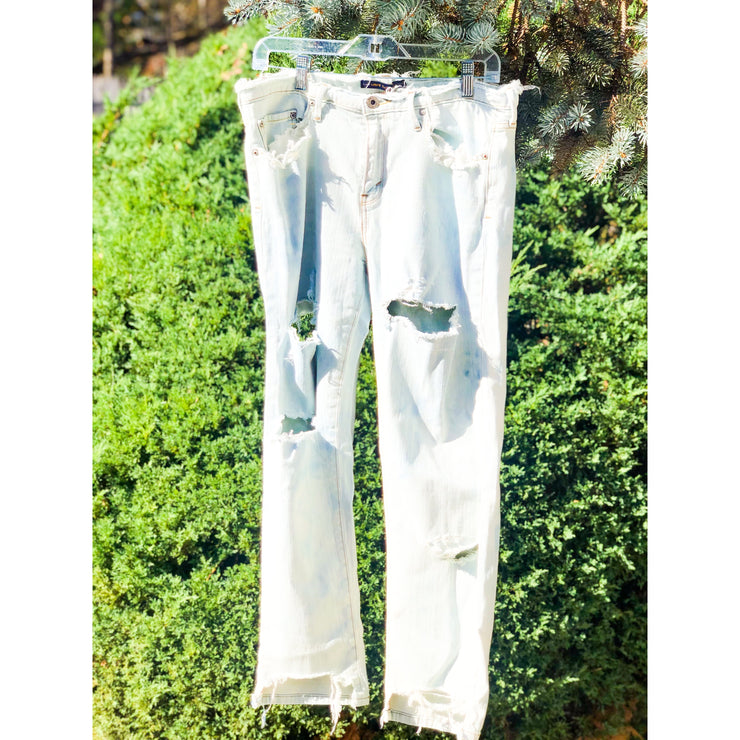 SLOPPY SECONDS Vintage Deconstructed Bleached Denim Jeans