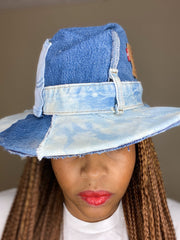 SCRAPPY FEDORA Vintage Levis Upcycled Hat