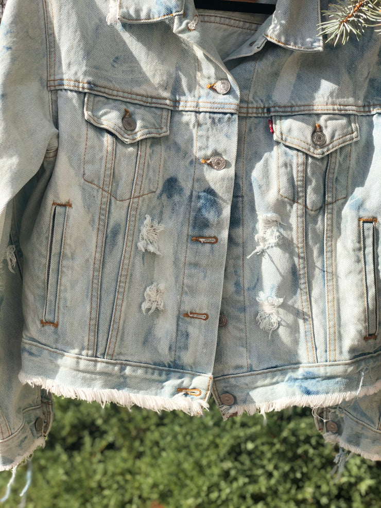 SLOPPY SECONDS Vintage Deconstructed Speckled Denim Jacket