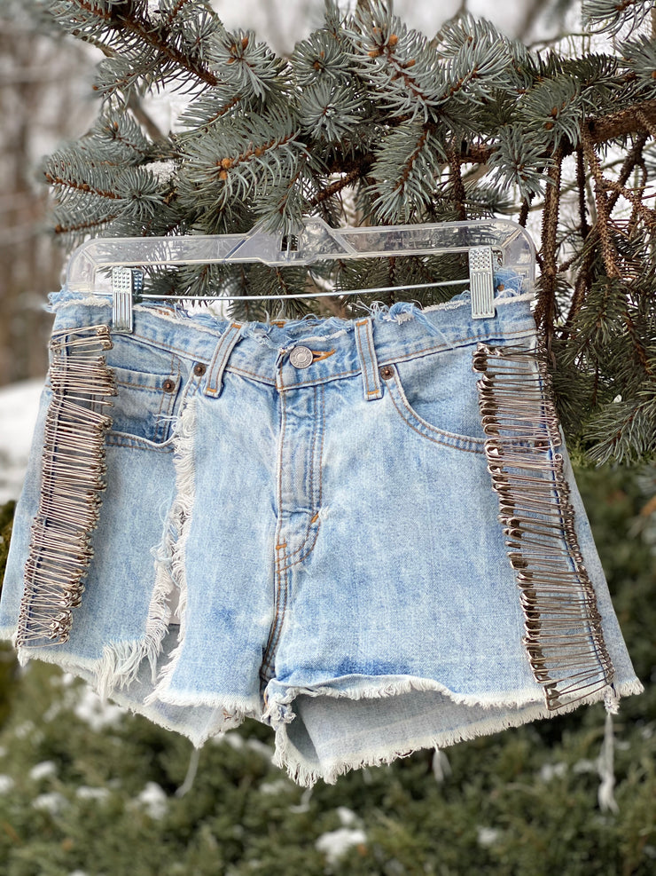 SAFETY FIRST Vintage Deconstructed Denim Cutoff Shorts