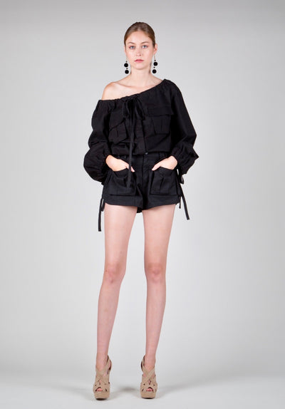 """BLACK LACES"" Off Shoulder Short Set"
