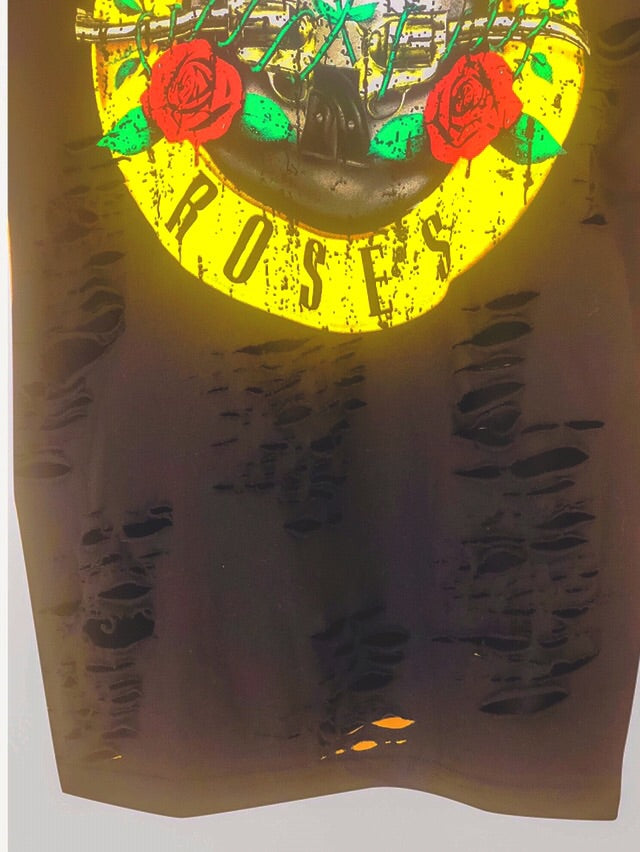 GUNS AND ROSES Distressed Vintage T Shirt Dress