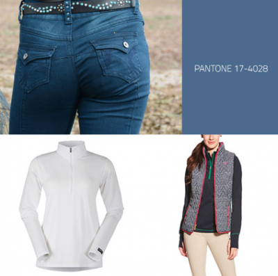 2kGrey Ladies Swirls Knee Patch Riding Breech Kerrits Ice Fil Longsleeve Shirt in White Ariat Ladies Ashley Vest in Navy Houndstooth