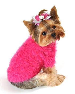 Mohair Blossom Sweater - Hot Pink
