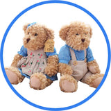 2 Peluches Ours Teddy Couple bleu