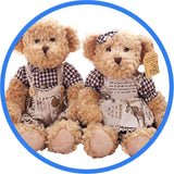 2 Peluches Ours Teddy Couple marron