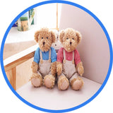 2 Peluches Ours Teddy Couple bleu rose