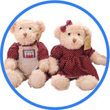 2 Peluches Ours Teddy Couple pourpre