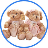 2 Peluches Ours Teddy Couple rose