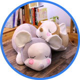 Peluche Souris Endormie Cartoon Kawaii gris marron