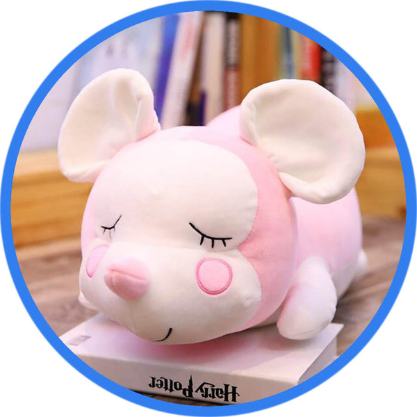 Peluche Souris Endormie Cartoon Kawaii rose