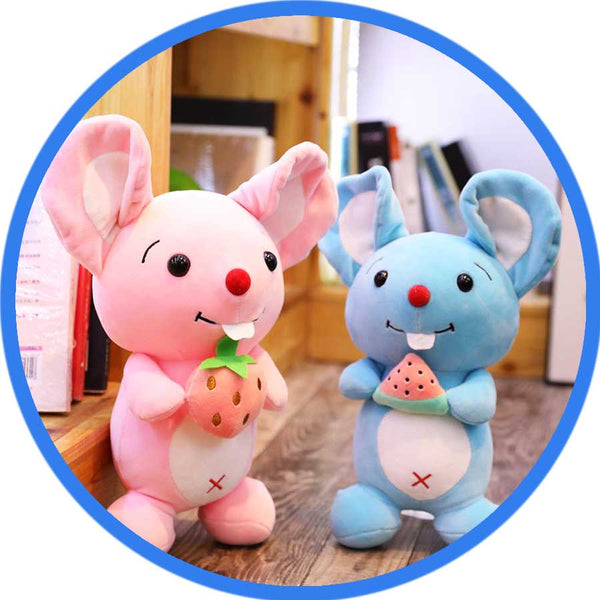 Peluche Souris Kawaii Cartoon Fruit rose et bleu