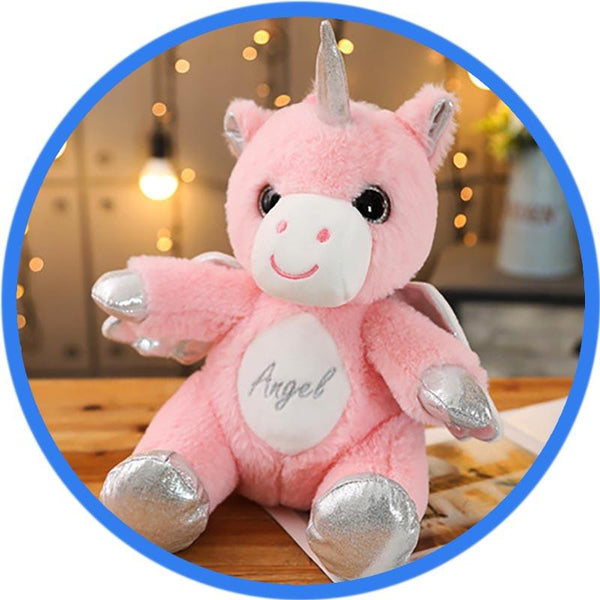 peluche licorne yeux ouverts rose