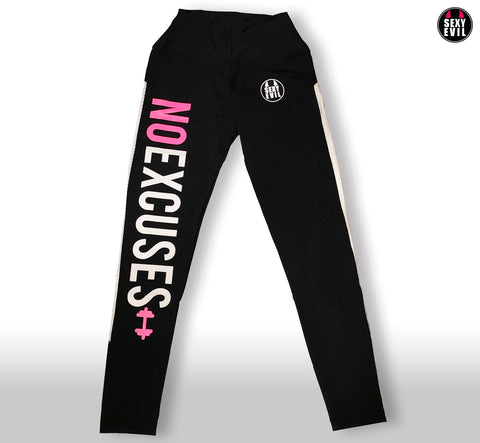"Leggins negro con texto ""No Excuses"""