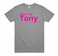 Unisex - Time's Up Tony T-Shirt - Light Grey with Hot Pink