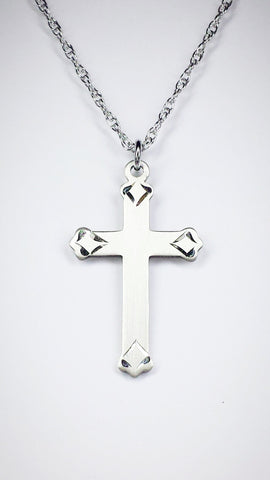 Sterling Silver Cross Pendant on an 18 inch Sterling Silver Light Rope Chain