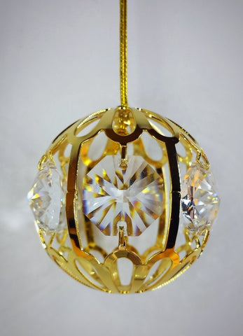 Ornament - Swarovski Crystal & 24K Gold Plated small ball *Set of 3