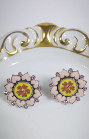 """Garden of Eden"" Post Earrings with Enamel Crystal Heart designed Flower"