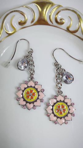 Heart Flower earrings crystals