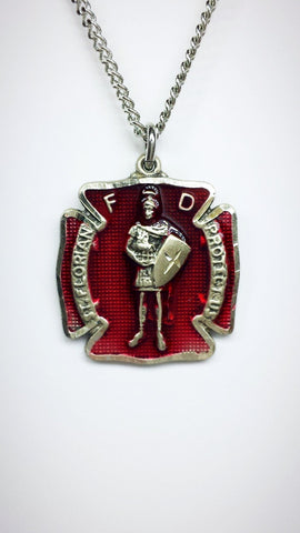 "Sterling Silver St. Florian Firefighter with Red Enamel on an 18"" Stainless chain"