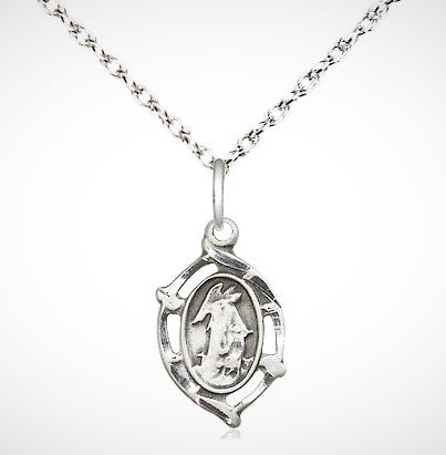 "Sterling Silver Guardian Angel Pendant on a Sterling Silver 18"" Light Rope Chain"