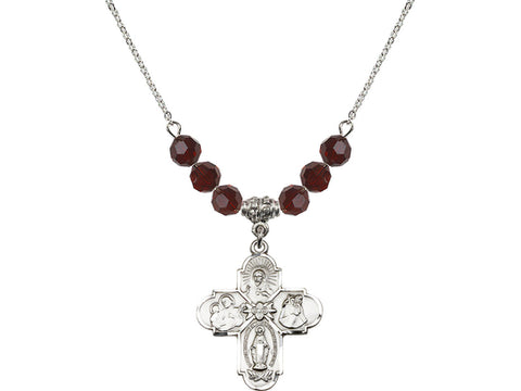 4-Way birthstone medal cross January