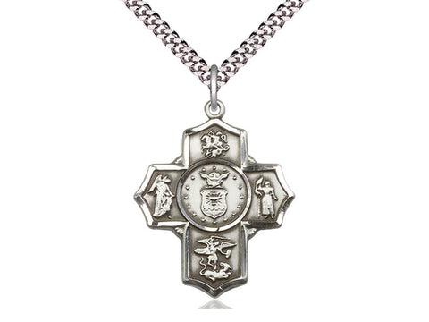 5-Way Air Force Sterling Silver Pendant Cross on a 24 inch Light Rhodium Heavy Curb Chain