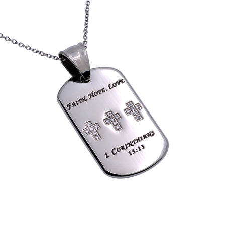 "Stainless Steel Women's CZ Calvary Dog Tag Necklace ""Faith, Hope, Love"" 1 Corithians 13:13"