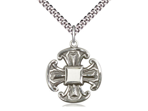 Sterling Silver Canterbury Cross Trinity Pendant on a 24 inch Light Rhodium Heavy Curb Chain