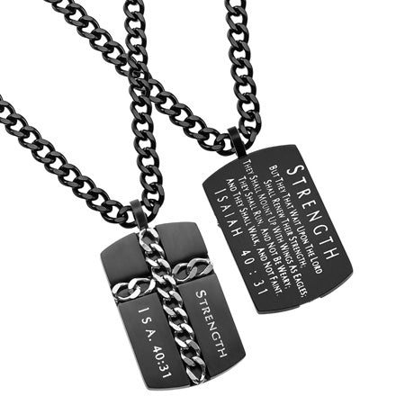 "Black Chain Cross Necklace Dog Tag ""Strength"", Isaiah 40:31"