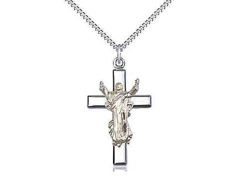 Risen Christ Cross Pendant on a 18 inch Stainless Light Curb Chain.