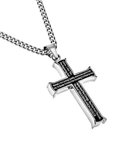 "Iron Cross Black ""Alpha Omega"" with Upgraded Chain Revelation 22"