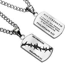 "Crown of Thorns Stainless Steel Diamond back Necklace, ""His Strength"", Philippians 4:13"