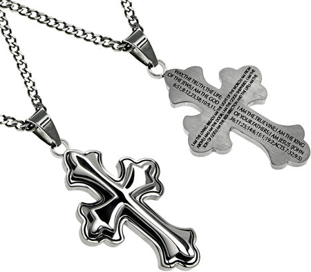 "Deluxe Crusader Cross Necklace ""Way Truth Life"" with Upgraded Chain"