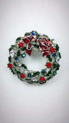 Crystal Pin - Enameled Christmas Wreath