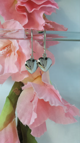 Solid Sterling Silver Heart Dangle Earrings on locking Sterling Ear wires