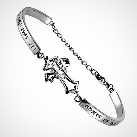 "Stainless Steel CZ Cross Women's bracelet, ""Woman of God"", Proverbs 31"
